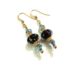 Blue & Black Lampwork Earrings With Blue Swarovski Crystals, Black Earrings, Blue Earrings, Lampwork Jewelry