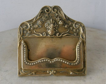 BRASS CARD HOLDER Business Cards Swirling Design Beaded Edging Holder on Easel Stand Made in England Mid 1900's Free Shipping!