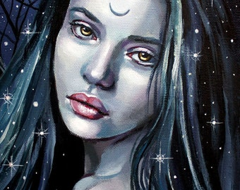 "11 x 14, Fine Art Print, ""Morgaine"", painting by Kamille Freske, pagan art, wiccan art, fantasy art, wicca, fairy, moon priestess, Morgaine"