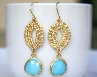 Gold Blue Earrings. Marquise Earrings. Gold Dangle Earrings. Wedding Earrings. Christmas Gift. Sister.Mom.Daughter.Wife.Friend.Birthday.Mum