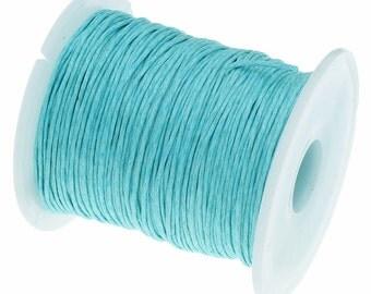 Wax Cotton Cord : Aqua 1mm Waxed Cord String | Bracelet Cord | Macrame Cord [Choose 10 feet or 30 feet] -- 90701-8