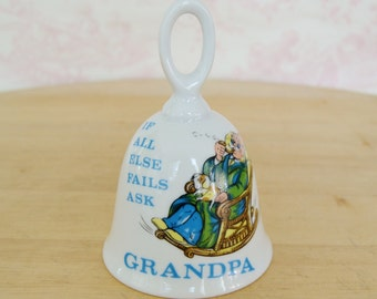 Vintage Grandpa Ceramic Bell with an Illustration Made in Japan