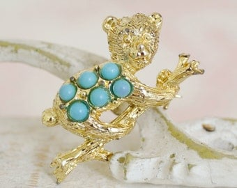 Vintage Bear Brooch with Plastic Beads and Golden Metal
