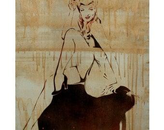 Marilyn Monroe Pin Up Vintage Fashion Painting 18x24 Original Mixed Media Artwork Urban Art Graffiti on Canvas Pop Art Street Art Portrait
