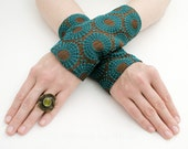 Arm Warmers Fingerless Gloves, Bronze Turquoise
