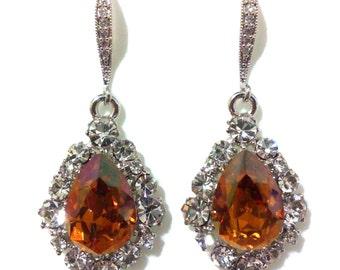 Brown Bridal Earrings, Amber Earrings, Swarovski Crystal Drop Earrings, Dangle Earrings, Bridesmaid Earrings, Jewelry Gift for Her, BIJOUX
