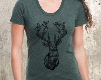 Deer With Birds in Antlers - Women's Poly Cotton T-Shirt - Scoop Neck