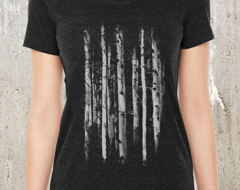 Forest Grunge Illustration - Women's Tri-Blend T-Shirt - American Apparel - Women's Small Through XL Available