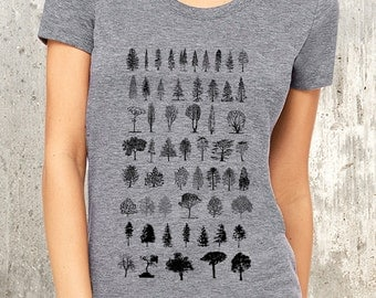 Diagram of Trees Women's T-Shirt - American Apparel Women's TriBlend T-Shirt - Women's Small Through XL Available