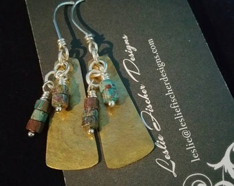 Textured Brass Earrings with Paisley Jasper Dangles