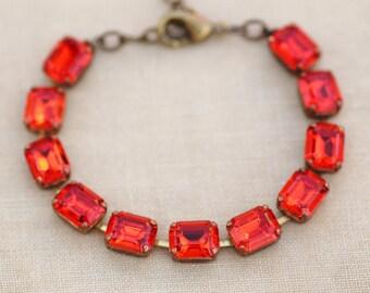 NEW COLOR - Rare Vintage Swarovski Rhinestone Tennis Bracelet,Hyacinth Orange Octagon Jewel Bracelet,Crystal Tennis Bracelet,Brass,Orange