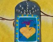 Sacred Heart  - Retablo - Southwestern Christmas ornament - Tin Ex Voto / MilagrO - Cathy DeLeRee