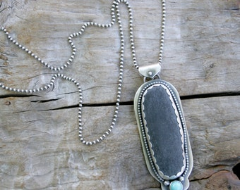 Dark Gray Beach Pebble and Turquoise Boho Sterling Silver Necklace. Silversmith Statement metalwork pendant.  One of a kind. OOAK