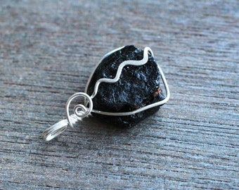 Black Tourmaline Wire Wrapped Pendant  #6109