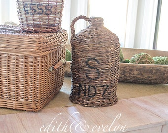 Antique FRENCH Demijohn Bottle, Initials, Wicker Wrapped, From France