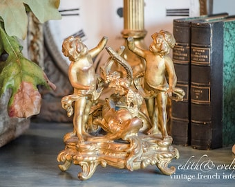 OMG French Napoleon III Cherub Clock Base, 1800's, Gilded Spelter, Salvaged Clock Base, Dolphin, French Bee Hallmark