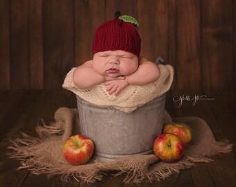 KNITTING PATTERN ONLY! Apple Hat- Fall- Newborn