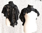 Capelet Victorian, gothic shrug, Steampunk, black lace ,Vespertilio,Somnia Romantica,approx extra large, see item details for measurements