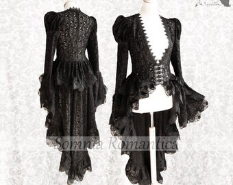 Victorian Steampunk cardigan, black lace robe, gothic, Somnia Romantica, approx size small - medium, see item details for measurements