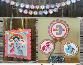 Fabulous Party Package -Pretty Ponies -My lil Pony Birthday -First Birthday -Banner -Invitation -Printables -Favor Tags -Centerpiece
