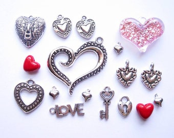 Heart Charm Collection in Silver Tone - C2360