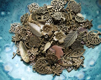 25-30 Nature Charms and Pendants - Grab Bag in Bronze Tone - C1931