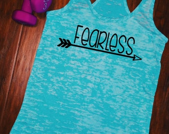 Fearless Tank Top. Womens Racerback style workout tank top. Perfect gift for an entrepreneur.