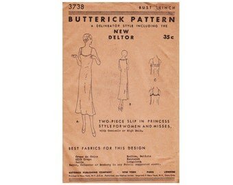 1930s Vintage Slip Sewing Pattern Bust 38 In Princess Style Camisole or High Back Butterick 3738 from 1931