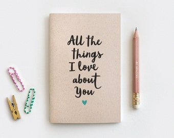 Reasons I Love You Notebook & Pencil Set - Recycled Journal Anniversary Gift - All the Things I Love About You - Reasons Why I Love You
