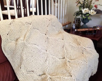 Ready-Made Knit Afghan---HAVERFORDWEST in OFF WHITE