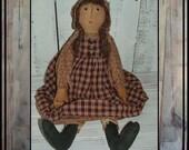 Tall Primitive hand embroidered folk art prairie doll hafair ofg rag doll handmade in USA faap