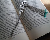 Silver Fox Bookmark Beaded Shepherds Hook Blue Art Nouveau Hairstick