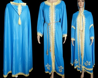 Vintage 1960s Dress//Matching Cape//Saks Fifth Avenue//Ethnic//Metallic Gold Belt//60s Dress//