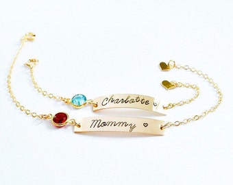 Personalized Baby Bracelet with Birthstone • Mothers Day Mom and Daughter Matching Set • 14k Gold Filled Sterling Silver Baby Shower Gift