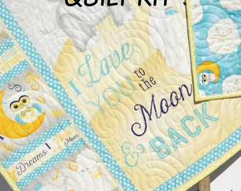 Quilt Kit I Love You to the Moon and Back Panel Gender Neutral Boy or Girl Quick Elephant Sheep Stars Blue Yellow Baby Blanket Project DIY