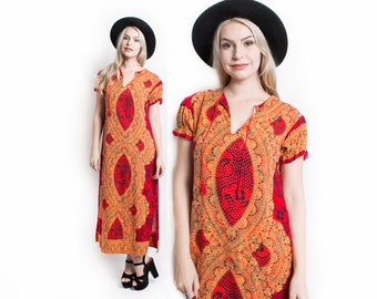 Vintage 70s Dress - Indian Cotton Red Ethnic Printed Boho Sheath Dress 1970s - Small