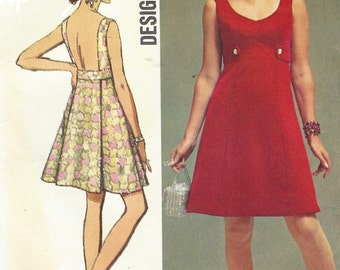 60s Womens Evening Dress with Detachable Back Panel Simplicity Sewing Pattern 8542 Size 18 Bust 40 UnCut Vintage Designer Fashion