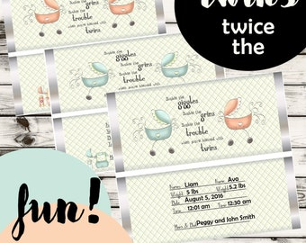 Twins are Twice the FUN! Twins Candy Bar Wrappers, Personalized Twin wrappers, Twins birth announcement. Set of 10.
