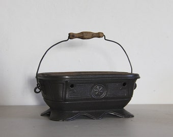 Antique French Foot Warmer Black Colored Metal and Wood
