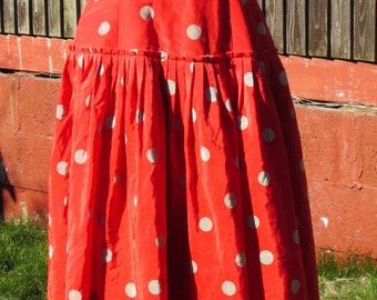 Beautiful Vintage Authentic Spanish Flamenco Dress - Red and Grey Polka Dots