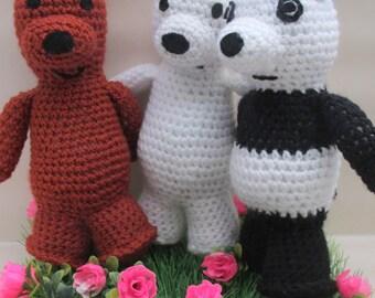 Crochet We Bare Bears Inspired Bear - Grizzly Bear, Panda Bear or Ice Bear - Ready To Ship