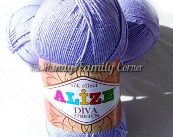Alize Diva Stretch Elastic spandex springy yarn. Color lavender lilac orchid (158) Elastane Lycra Summer Yarn Swimwear Bikini yarn DSH(P2P2)