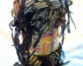 Yarn with tassels. Yarn Brasilia. Unique ladder yarn with ribbon pendants tassels. Neutral colors. Black tassels. Scarf yarn. Accesory yarn.