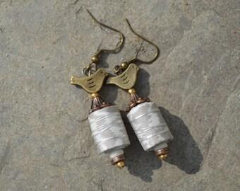 boho silk earrings, vintage silk earrings, tribal style, handmade beads, festival jewellery, hippie earrings, boho chic, taupe and white