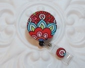 Retractable Badge Holder Id Reel  Fabric Covered Button Red Blue Orange Green
