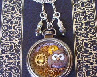 Pocket Watch Necklace (PW601) - Grey Owl and Gears - Swarovski Crystal - Glass Bead Dangles - Silver Pocket Watch Casing