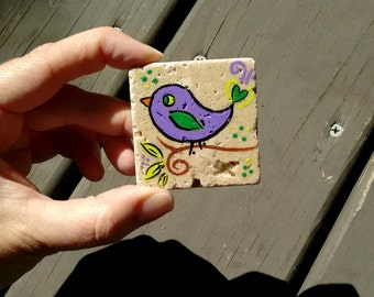 Bird tile magnet hand painted tile