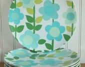 Aqua Blue + Green Floral Texas Ware Melmac Plates 8