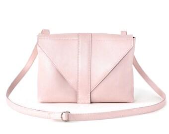 Minimalistic Crossbody Bag Rose Leather, satchel bag, box bag, rose quartz envelope purse, messenger bag