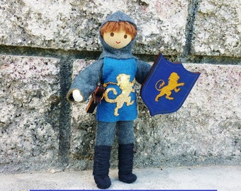 Knight Doll - Bendy doll - Dollhouse castle - Dollhouse dolls -blue tunic - Waldorf Castle - Boy Doll - Dark Brown Hair